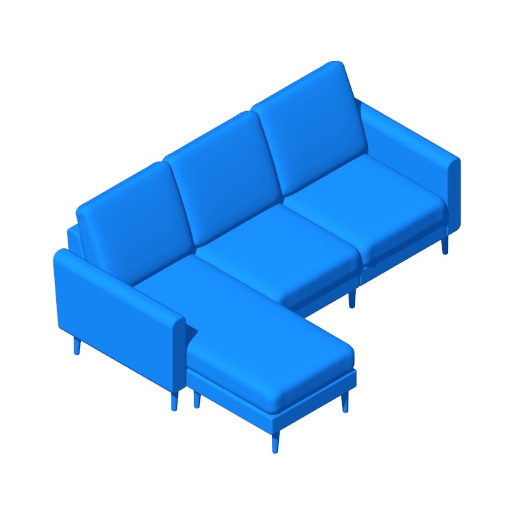 View of the Burrow Nomad Chaise Sofa in 3D available for download