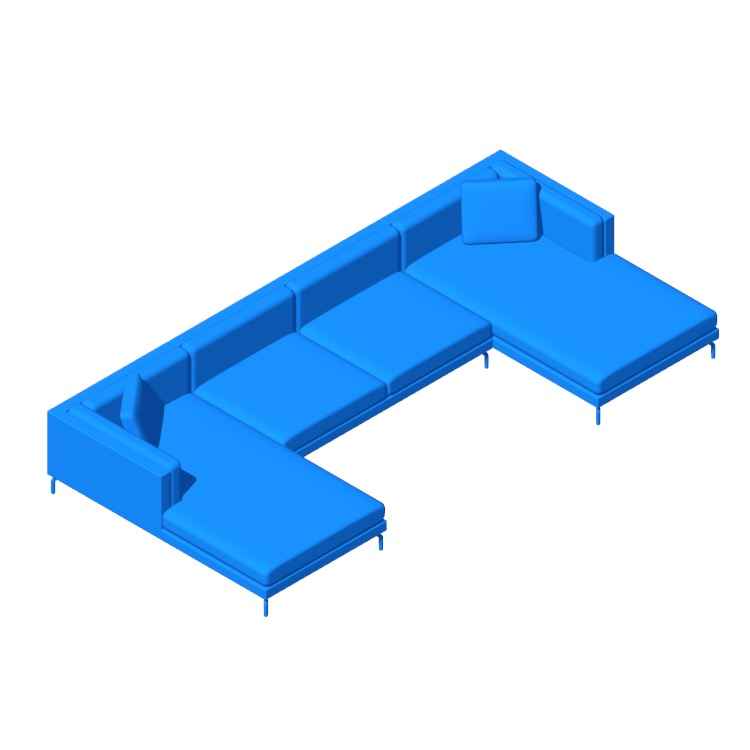 3D model of the Como Double-Chaise Sectional viewed in perspective