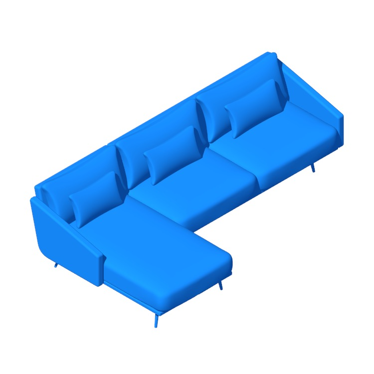 Perspective view of a 3D model of the Costura Sectional with Chaise