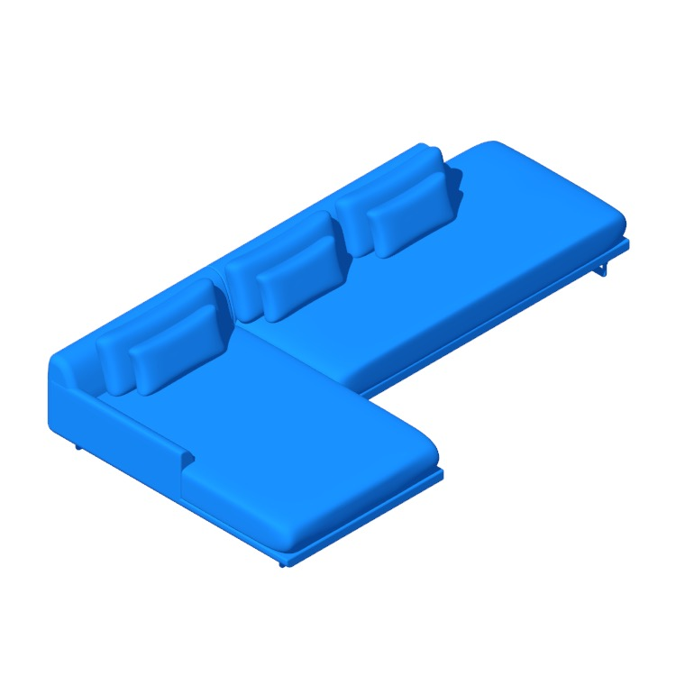 3D model of the Lecco Open Sectional with Chaise viewed in perspective
