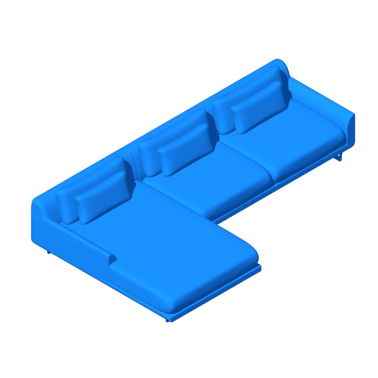 View of the Lecco Sectional with Chaise in 3D available for download
