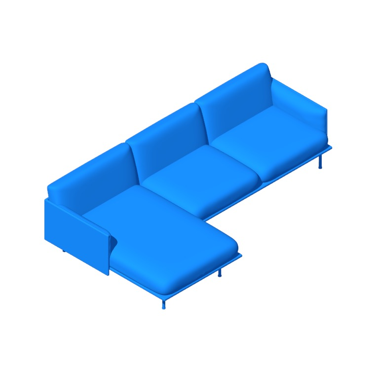 Perspective view of a 3D model of the Outline Sectional with Chaise