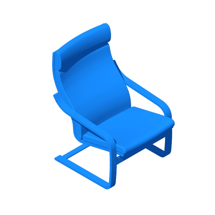 3D model of the IKEA Poäng Armchair viewed in perspective