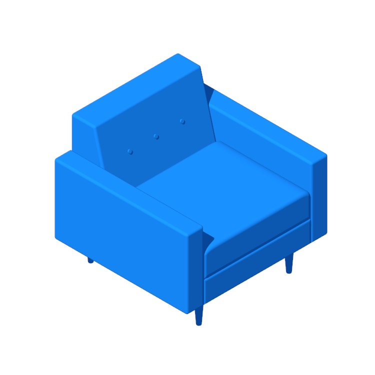 3D model of the Bantam Armchair viewed in perspective