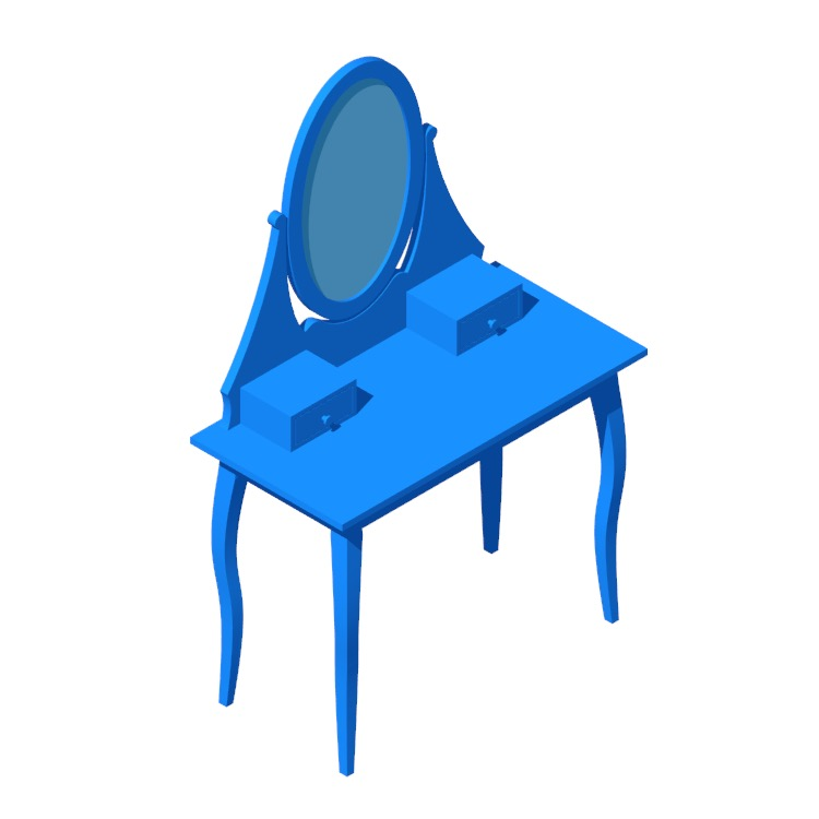 View of the IKEA Hemnes Dressing Table with Oval Mirror in 3D available for download