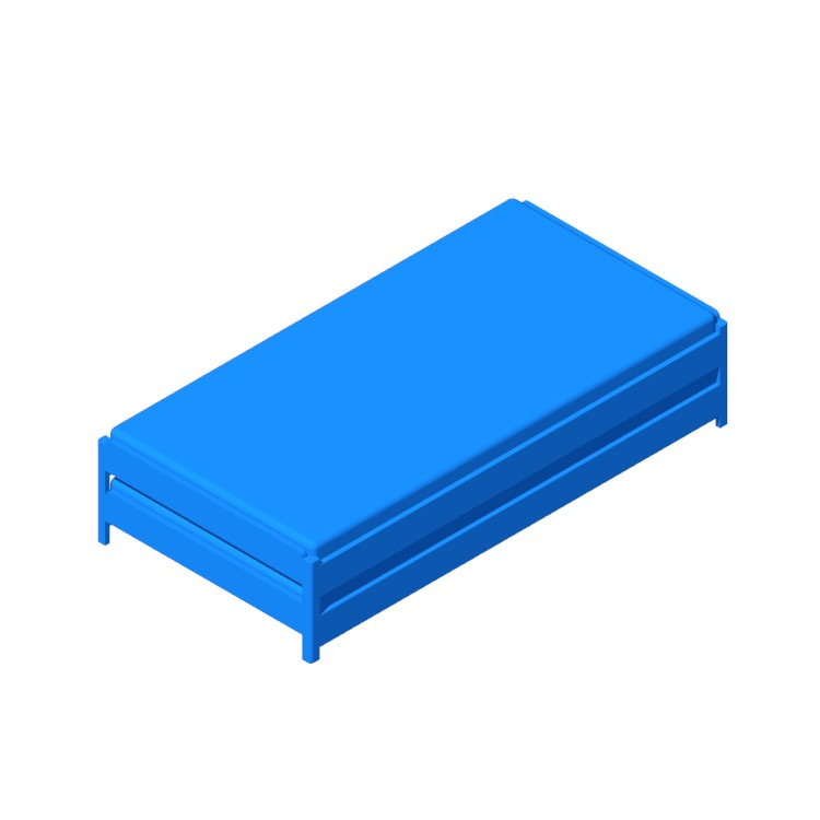 Perspective view of a 3D model of the IKEA Utåker Daybed