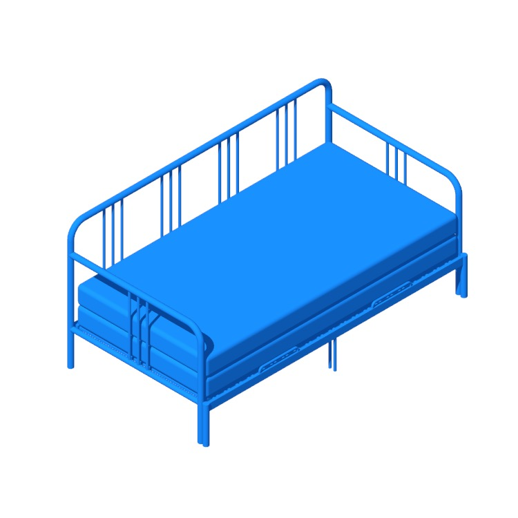 Perspective view of a 3D model of the IKEA Fyresdal Daybed