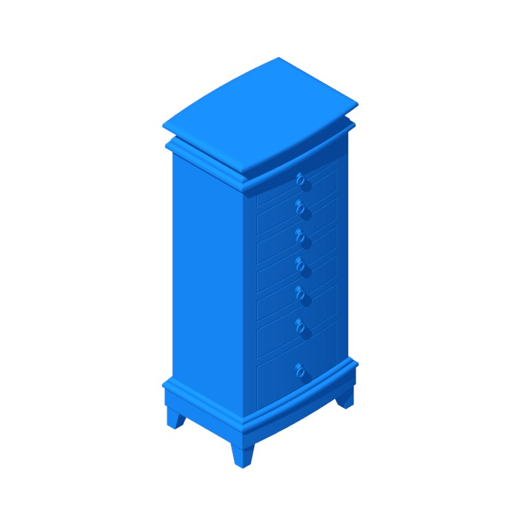 3D model of the Alina Free Standing Jewelry Armoire viewed in perspective