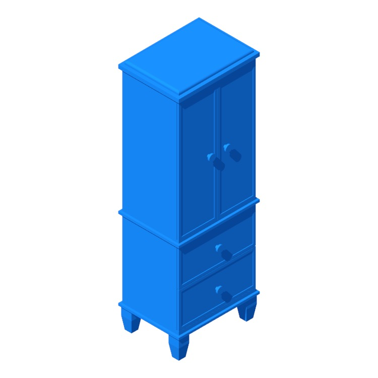 View of the Berges Free Standing Jewelry Armoire in 3D available for download