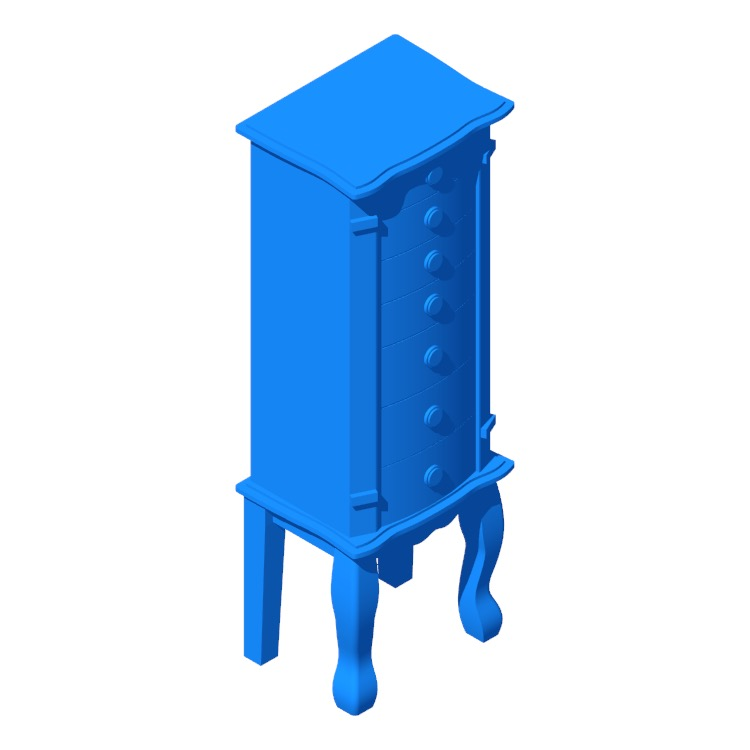 3D model of the Stroudsburg Jewelry Armoire viewed in perspective