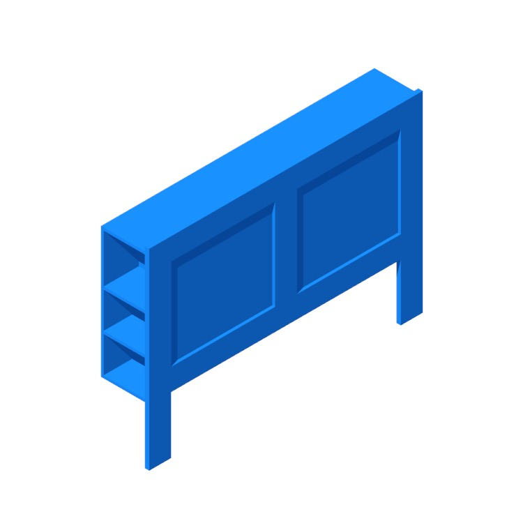 View of the IKEA Brimnes Headboard with Storage in 3D available for download