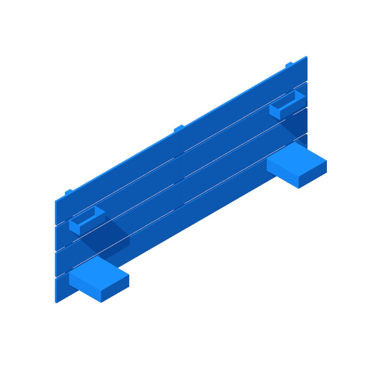 3D model of the IKEA Nordli Headboard viewed in perspective
