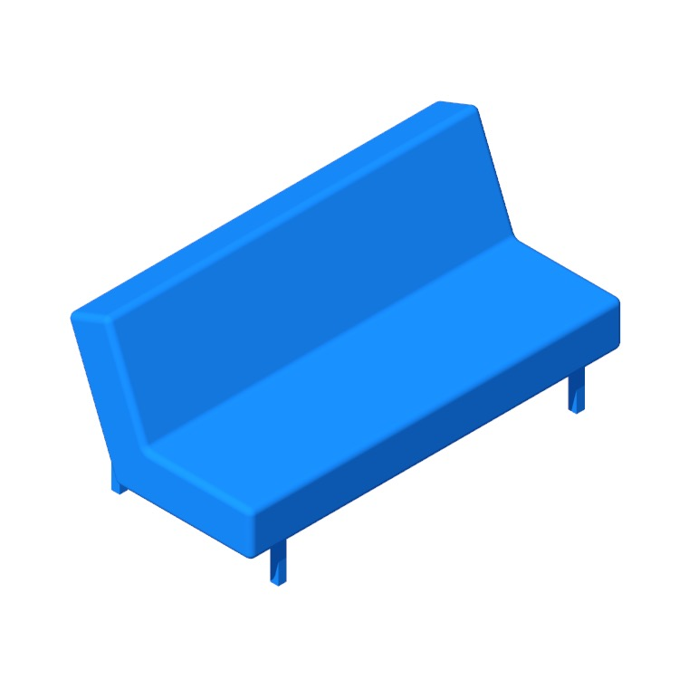 3D model of the IKEA Balkarp Sleeper Sofa viewed in perspective