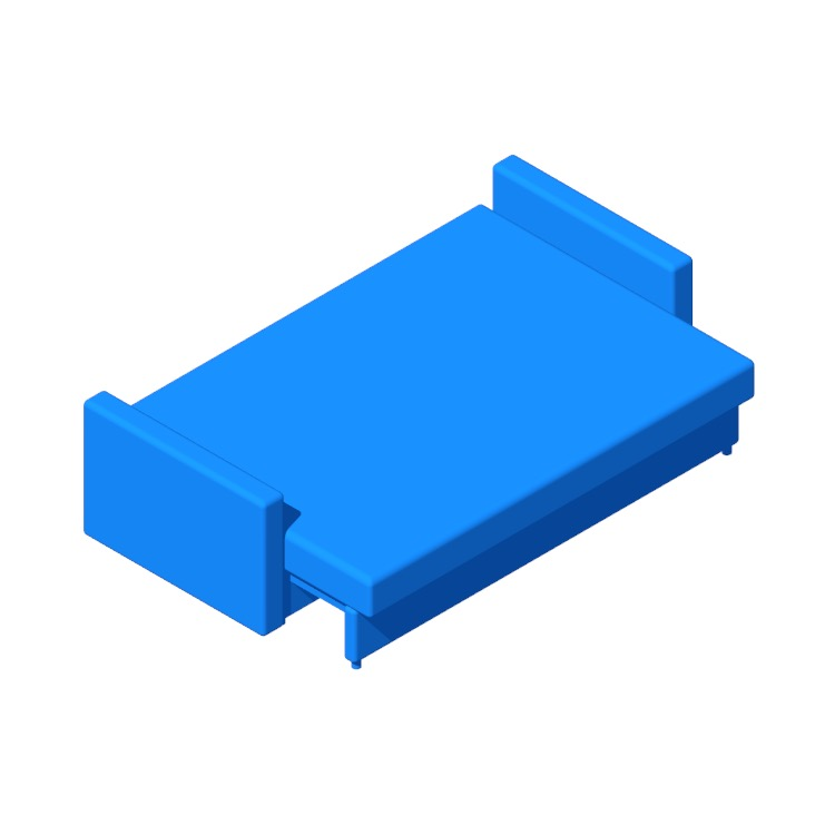 3D model of the IKEA Friheten Sleeper Sofa viewed in perspective