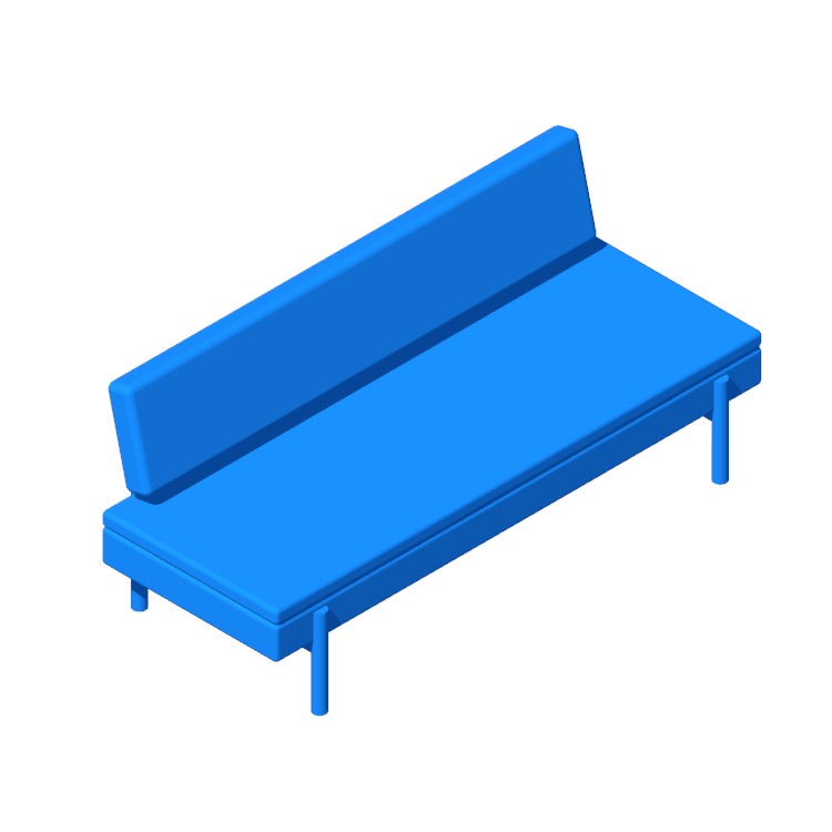 3D model of the IKEA Ypperlig Sleeper Sofa viewed in perspective