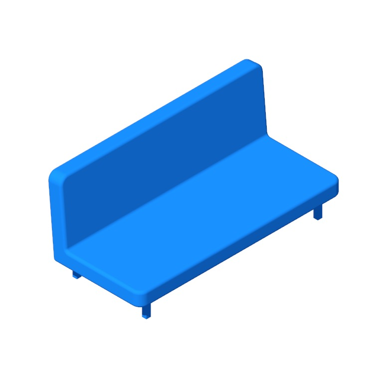 3D model of the IKEA Nyhamn Sleeper Sofa viewed in perspective