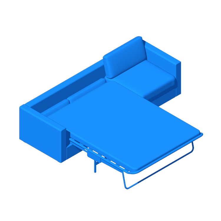 Perspective view of a 3D model of the IKEA Vimle Sleeper Sofa 3 Seater