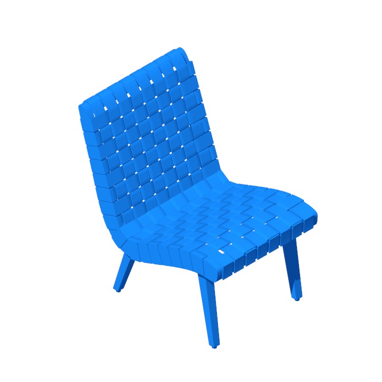 Perspective view of a 3D model of the Risom Lounge Chair