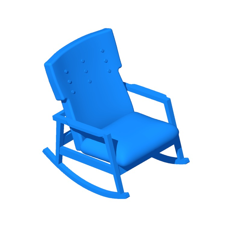 Perspective view of a 3D model of the Risom Rocker
