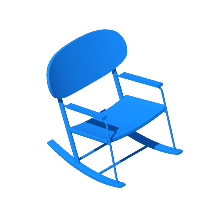 Perspective view of a 3D model of the IKEA Grönadal Rocking Chair