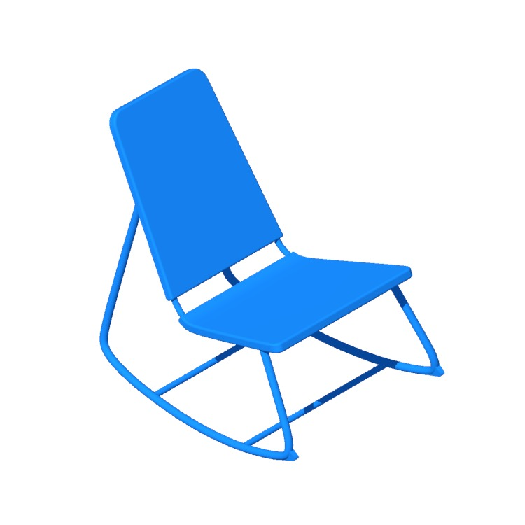 3D model of the IKEA Överallt Rocking Chair viewed in perspective