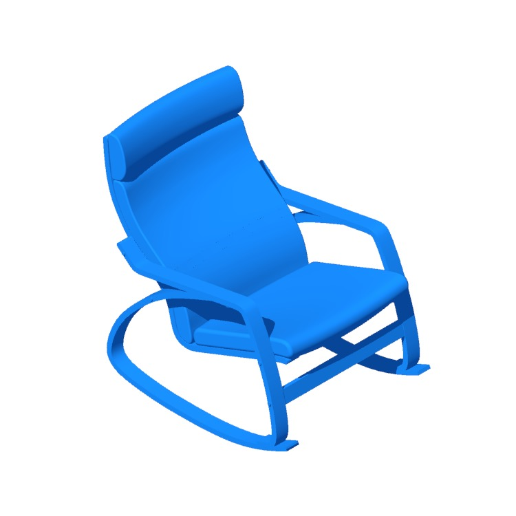 View of the IKEA Poäng Rocking Chair in 3D available for download