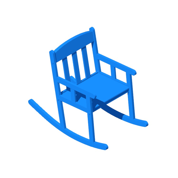 Perspective view of a 3D model of the IKEA Sundvik Children's Rocking Chair