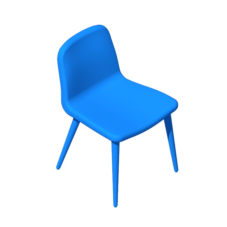Perspective view of a 3D model of the Bacco Chair