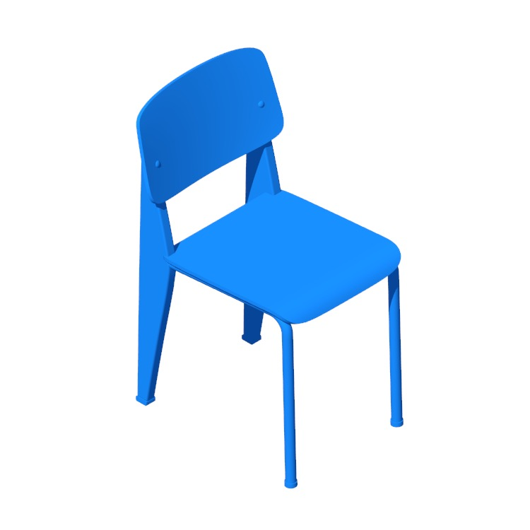Perspective view of a 3D model of the Prouvé Standard Chair