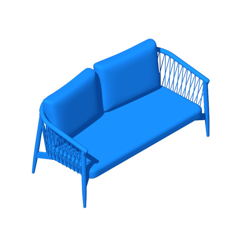 3D model of the Crosshatch Settee viewed in perspective