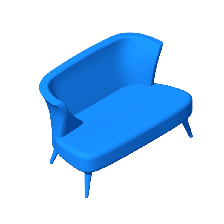 View of the Kaia Armless Settee in 3D available for download