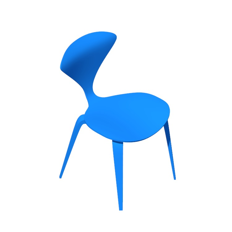 3D model of the Cherner Side Chair viewed in perspective
