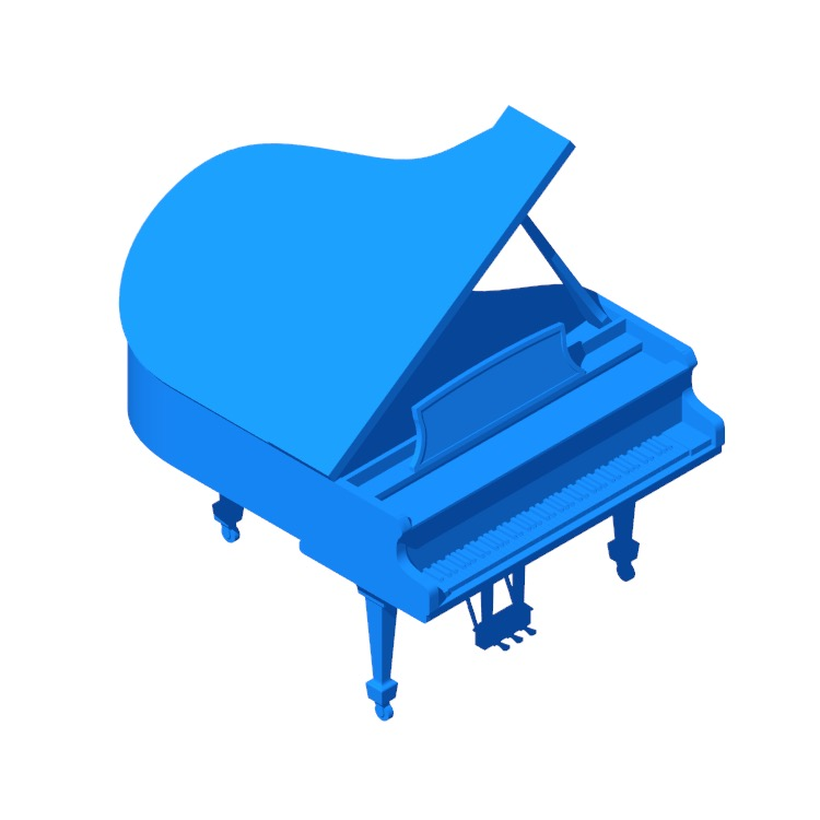 Perspective view of a 3D model of the Steinway Grand Piano Model L