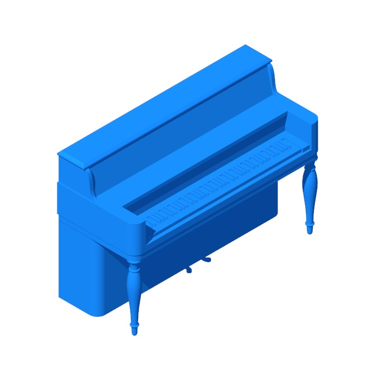3D model of the Steinway Upright Piano Model 40 viewed in perspective