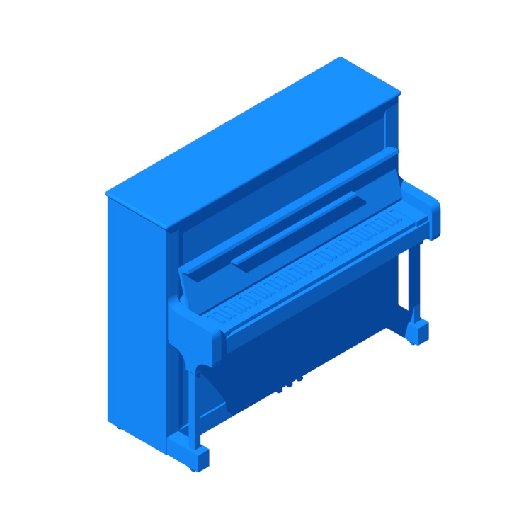 View of the Steinway Upright Piano Model K in 3D available for download