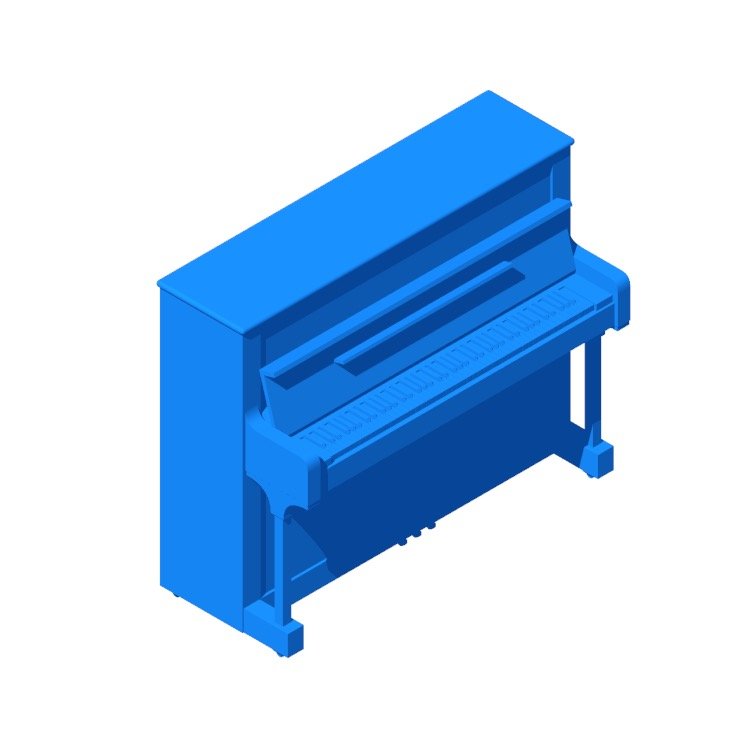 Perspective view of a 3D model of the Steinway Upright Piano Model V