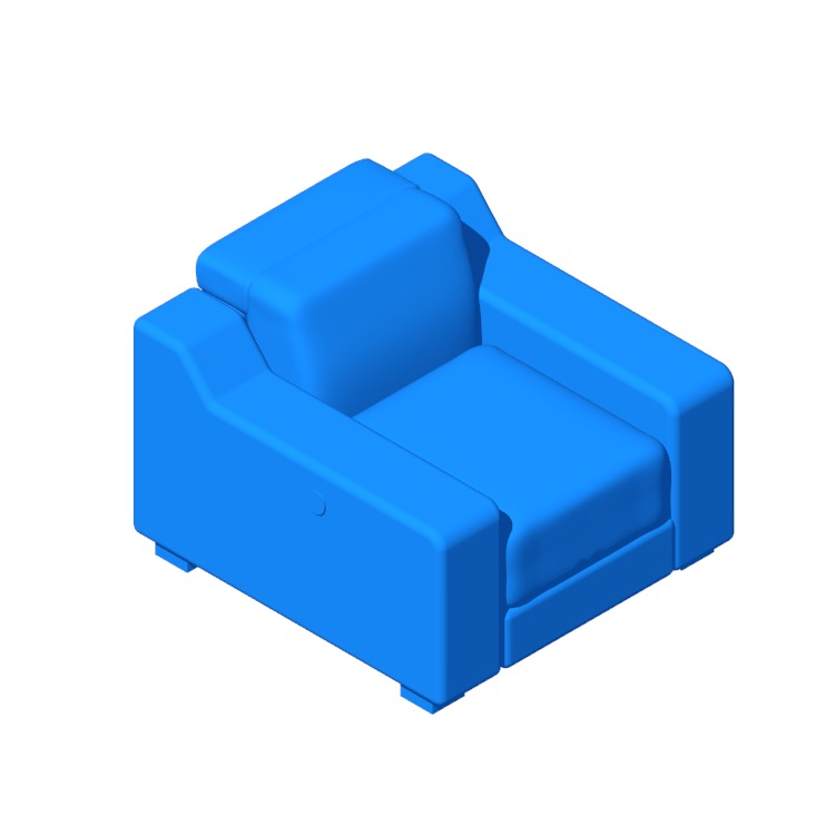 3D model of the IKEA Uttran Reclining Armchair viewed in perspective