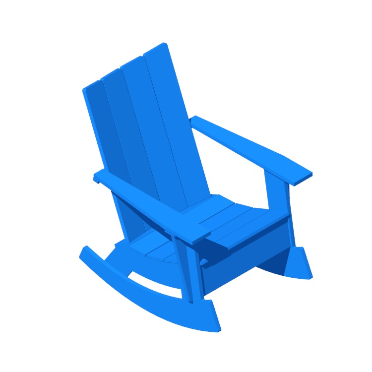 3D model of the Adirondack Rocker viewed in perspective