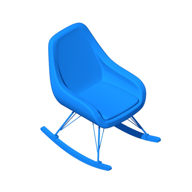 Perspective view of a 3D model of the Decker Rocking Chair
