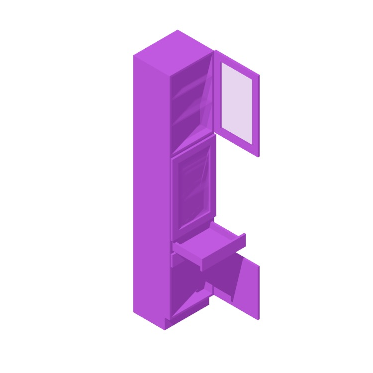3D model of the IKEA Sektion High Cabinet (3 Doors, 2 Drawers - Split) viewed in perspective