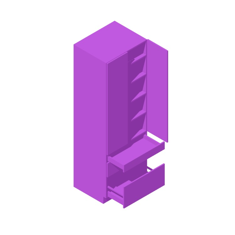 Perspective view of a 3D model of the IKEA Sektion High Cabinet (2 Doors, 3 Drawers - Mixed)
