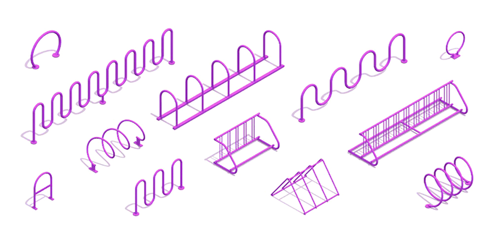 3D rendered group of Bicycle Racks of various sizes, types, and shapes