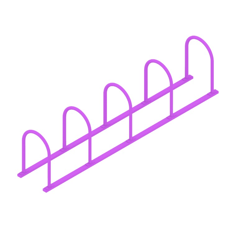 Perspective view of a 3D model of the Hoop Rack - Rails