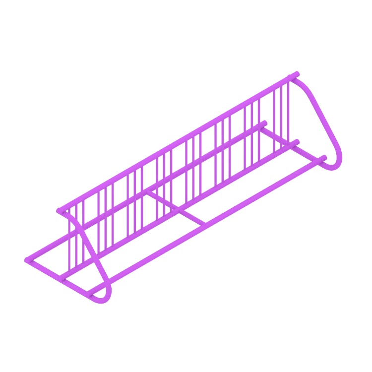 Perspective view of a 3D model of the Grid Bike Rack - Double Sided (Extended)