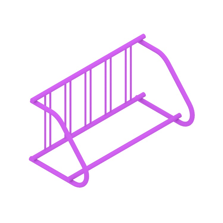3D model of the Grid Bike Rack - Single Sided viewed in perspective