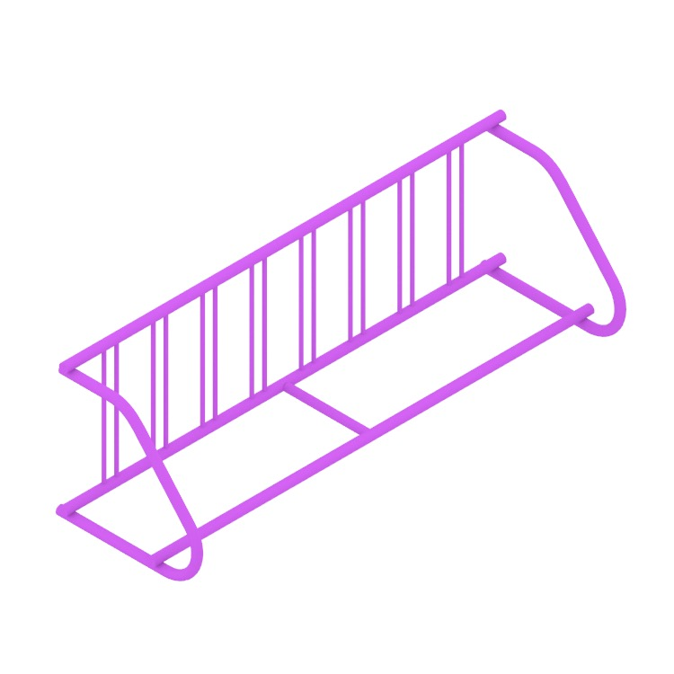 View of the Grid Bike Rack - Single Sided (Extended) in 3D available for download