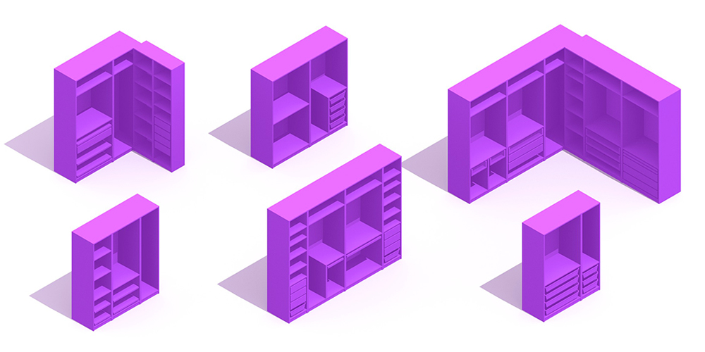 3D perspectives of a group of Closet Storage options in various configurations, widths, heights, and organizations