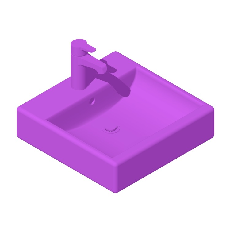 3D model of the IKEA Törnviken Square Countertop Bathroom Sink viewed in perspective