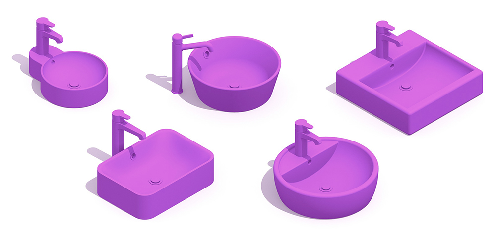 Collection of 3D models of Bathroom Sinks showing a range of styles, designs, shapes, and sizes