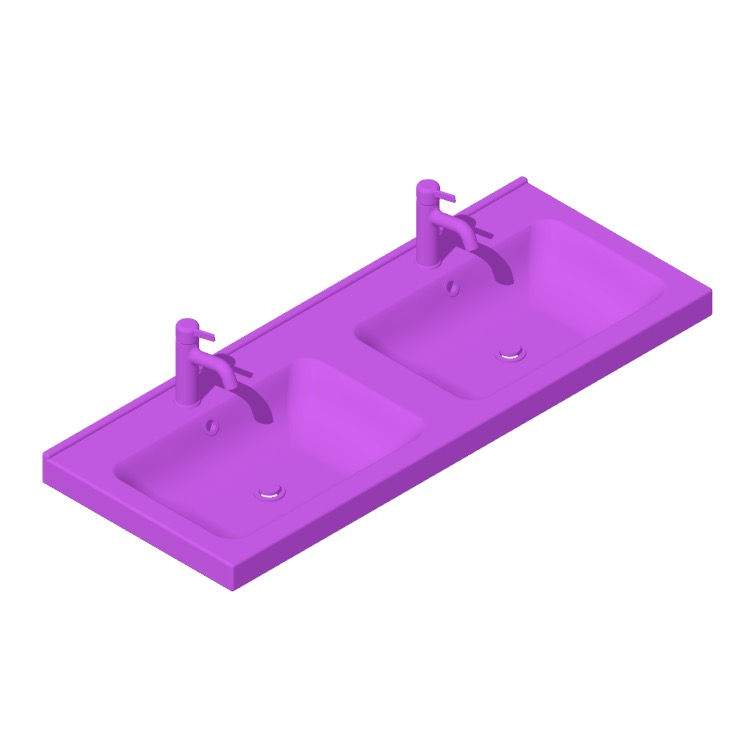 View of the IKEA Odensvik Bathroom Sink Double Bowl in 3D available for download